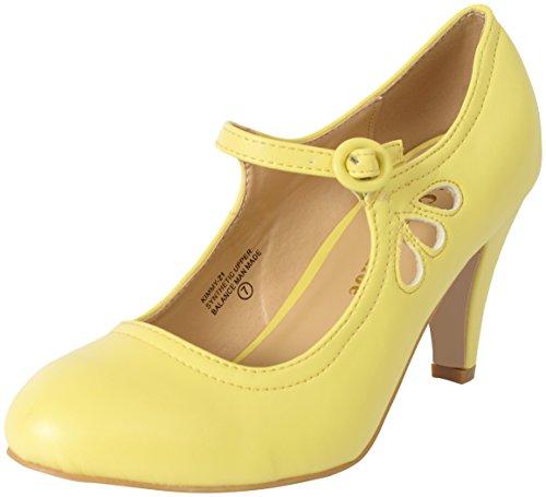 Chase & Chloe Kimmy-21 Women's Round Toe Pierced Mid Heel Mary Jane Style Dress Pumps (8 B(M) US, Lemon)