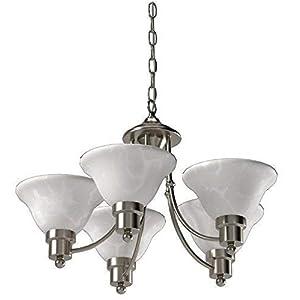 Hardware House 544452 54-4452 Bristol 5 Light Chandelier, 24″x15″, Satin Nickel