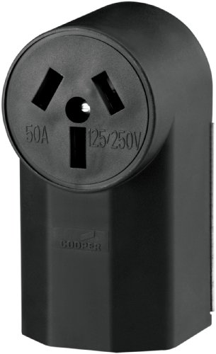 Eaton WD112 50-Amp 125-Volts 2-Pole 3-Wire Surface Mount Range Power Receptacle, Black