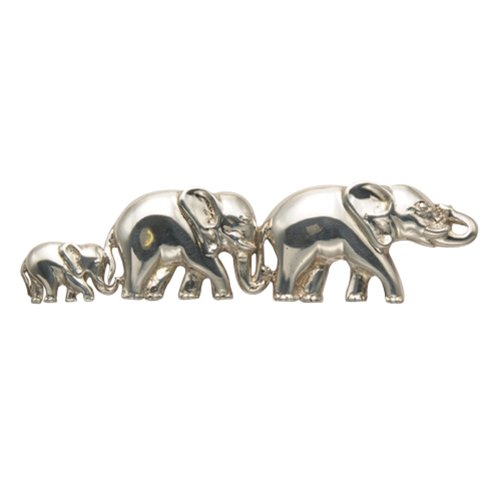 Sterling Silver Three Walking Elephants Pin by Wild Things