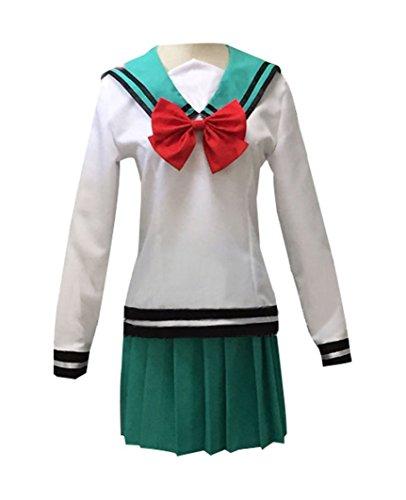 DOUJIONG No Sai-nan Cosplay Costume Japanese Anime Girl's Halloween School Uniform Suit Dress Set (M, Green) ()