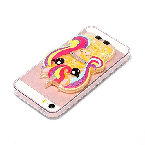Funda iPhone 5S, Carcasa iPhone SE, Caselover 3D Bling Silicona TPU Unicornio Carcasas para iPhone 5S / SE / 5 Glitter Líquido Arena Movediza Protección Caso Sparkle Brillar Cristal Tapa Case Suave Tr Caballo Amarillo