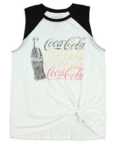 Hybrid Coca-Cola Coke Juniors Sleeveless Crop Top Tie Front Knot Shirt (Small) Hybrid Tie