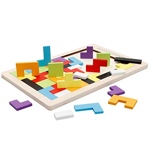 RARITY-US 40 Pcs Kids Wooden Tetris Puzzle Brain Teasers Toy, Tangram Jigsaw Puzzles Toys Game Early Educational for Adults