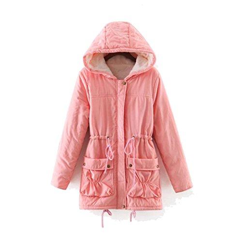 Fur Women Hoodies Warm Slim Jacket Winter Fuibo Outwear Long Coat Pink wqxqa4