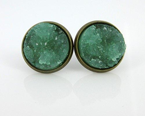 - Antiqued Gold-tone Mint Green Faux Druzy Stone Stud Earrings 12mm