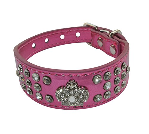 Geepro 3 Rows Rhinestone Crystal Leather Dog Collars For XS or Small Dogs (Hot Pink, S)