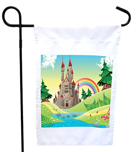 Rikki Knight Panorama with Castle House or Garden Flag wi...