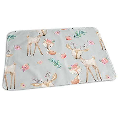 (Sweet Deer U Fox (Frost Gray) - Woodland Animals Flowers Baby Girl Nursery Bedding Baby Toddler Waterproof Washable Diaper Portable Reusable Changing Pad Mat 27.5