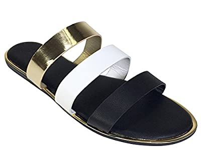 BAMBOO Women's Three Band Slide Sandal