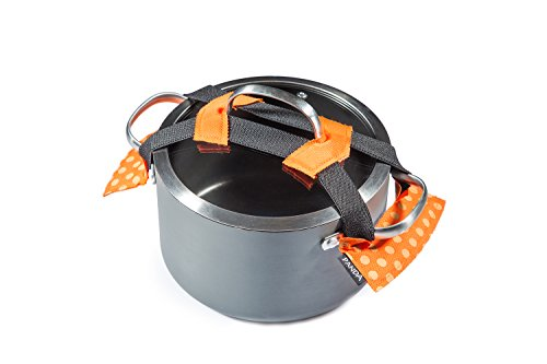 Pots2go Panda Universal Pot Lid Locking Strap: Seals and Secures Most 7.5 to 13 Inch Cookware Lids with Flexible Elastic Strap Available in 4 Colors - Lid Strap