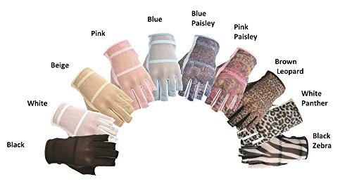 HJ Fashion Solaire 1/2 Finger Ladies Left Hand Golf Gloves BLUE FLORAL SM Floral Golf Gloves