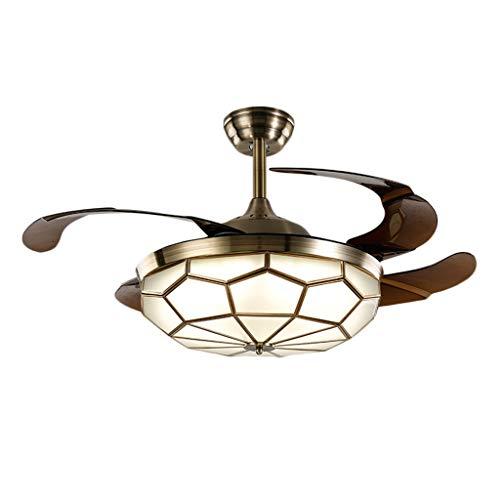 ZWS Ceiling Fan with Light Invisible Full Bronze Ceiling Fan Light European LED Inverter Living Room Fan Light Restaurant Fan Chandelier Used Indoor (Size : 42 inches 107cm)