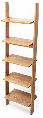 Premium Leaning Ladder Shelf, NO ASSEMBLY REQUIRED, MADE IN THE USA, Beautiful wood finish, Easy setup, Sturdy, Durable, Smooth, Easy to Move and Set Up, Multiple Finish Options (English Chestnut)
