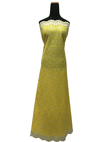 5Yds 100% Cotton Premium Swiss Voile Lace Fabric for Women , Fashion Dress , Party , Aso-Ebi (YELLOW)