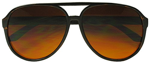 Sunglass Stop - Blue Blocking Over sized Round Bomber Aviator Sunglasses Amber Tinted Lens (Tortoise, Amber (Blue Buster - Aviators Brown