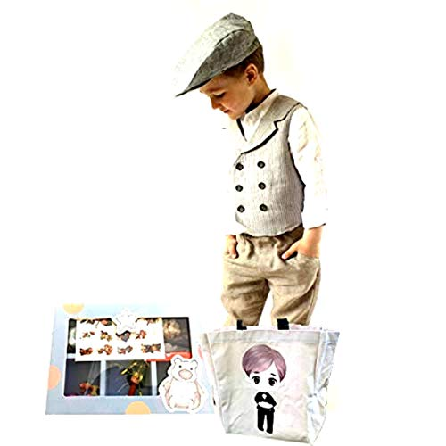 Little Boy's Ring Bearer Wedding Birthday Special Event Favors Toys Gift Tote bag Cotton Canvas with Fabulous Trinket Box full of toys favors surprises (Ring Bearer Tote)