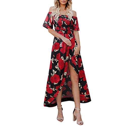 〓COOlCCI〓Women Floral Off The Shoulder Split Chiffon Maxi Beach Dresses Wedding Party Strapless Boho Maxi Long Dress Red