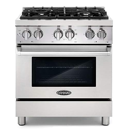 Cosmo DFR304 30 in Slide-In Free-standing Dual Fuel Range | Pro-Style 4 Sealed Burner Gas Rangetop , 3.9 cu. ft. Electric Convection Oven and Stove Cast Iron Grate Wok Attachment - Stainless Steel