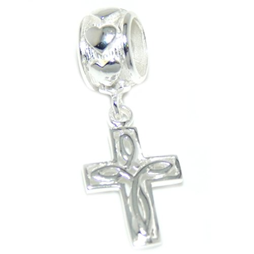 "Solid 925 Sterling Silver Dangling ""Celtic Cross"" Charm Bead"