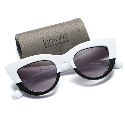 De kimorn Plastique Métal Blanc Cadre Grand amp;fumée de Œil Pour Soleil Lunettes Charnières Femmes K0568 Chat 5rw5nqPW8