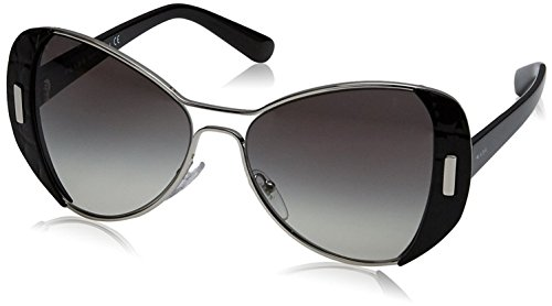 Prada Women's 0PR 60SS - 1AB0A7 Sunglasses Silver Black Gradient - Sunglasses Prada Authentic