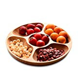 Best Wood Divided Serving Tray 10 inch Round Dessert Chip and Dip Dish Sandwich Appetizer Section Plates Compartment Cheese Platter