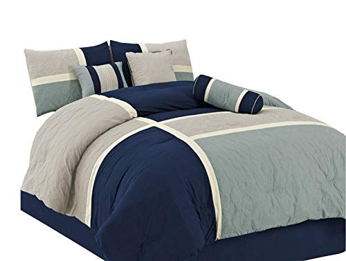 Chezmoi Collection 7-Piece Quilted Patchwork Comforter Set, California King, Blue/Gray (12 Piece Bedroom Ensemble)