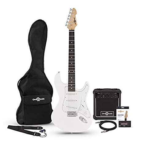 Guitarra Electrica LA + Paquete de Amplificador de 10 W Blanco ...
