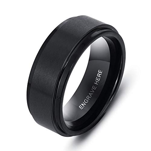 LanM Personalized Promise Rings for Mens Anniversary Engraving Name Custom Ring for Men (9) ()