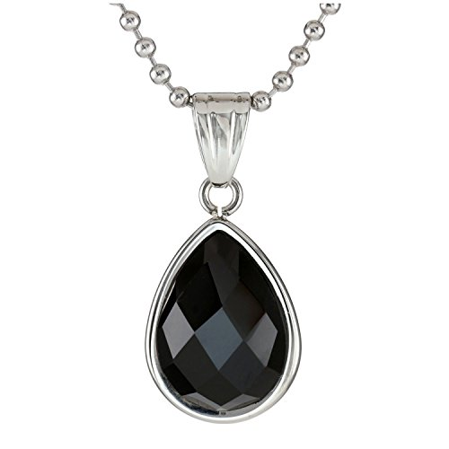 Metro Jewelry Stainless Steel Pendant Necklace with Black Onyx -