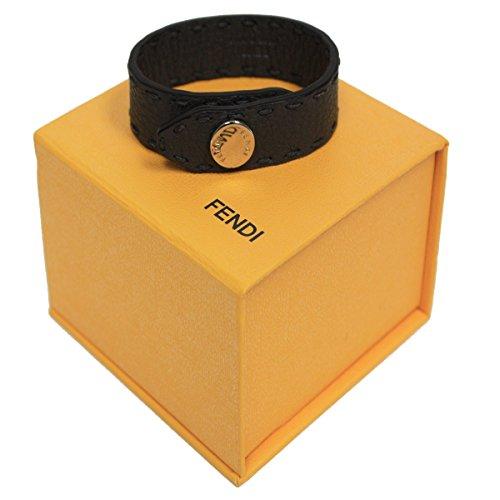 Fendi Selleria Midnight Dark Grey/Gray Leather Bangle Bracelet 7AJ043