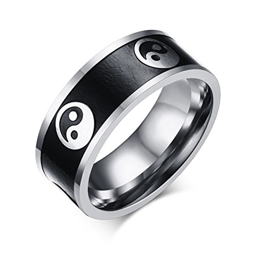 Mens 8mm Stainless Steel Blackening Oil Two Tone Yin Ynag Tai Chi Best Friend Band Ring Flat Top ()