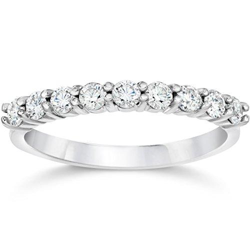 1/2ct Diamond Wedding Ring Half Eternity Wedding Band 14K White Gold - Gold Half Eternity Diamond