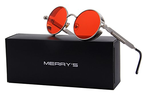 MERRY'S Gothic Steampunk Sunglasses for Women Men Round Lens Metal Frame S567 (Silver&Red, - Sunglasses Red Round Frame