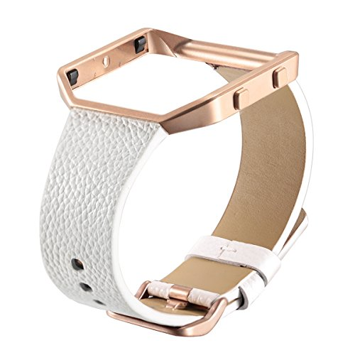 Fitbit Blaze Leather Bands with Frame, bayite Genuine Leather Straps Replacement for Fitbit Blaze Smart Fitness Watch Women Men White