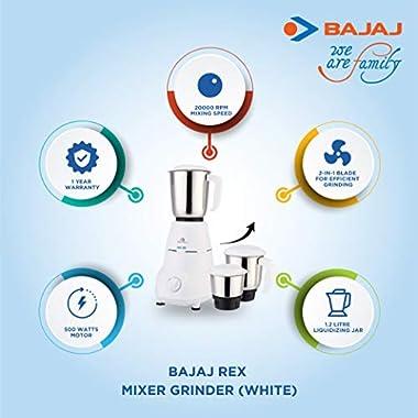 Bajaj Rex Mixer Grinder, 500W, 3 Jars (White) 8