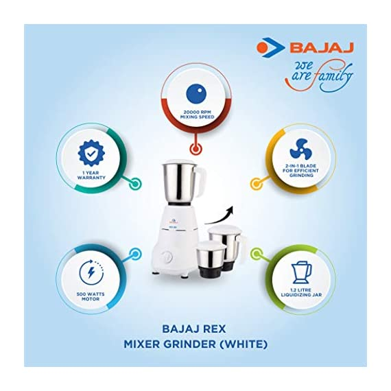 Bajaj Rex Mixer Grinder, 500W, 3 Jars (White) 2