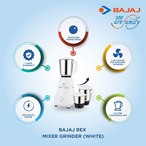 Bajaj Rex Mixer Grinder 500W with Stainless Steel 3 Jars