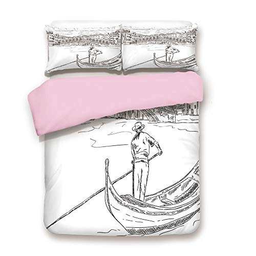 (Pink Duvet Cover Set,Queen Size,Rialto Bridge with Gondola Romantic Italian Landmark Inspired Sketchy Cityscape Decorative,Decorative 3 Piece Bedding Set with 2 Pillow Sham,Best Gift For Girls Women,B)