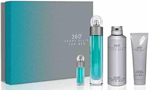 Perry Ellis 360 By Perry Ellis for Men - 4 Pc Gift Set 3.4oz Edt Spray, 6.8oz Deodorizing Body Spray, 3.0oz Shower Gel, 0.25oz Edt Spray, 4count