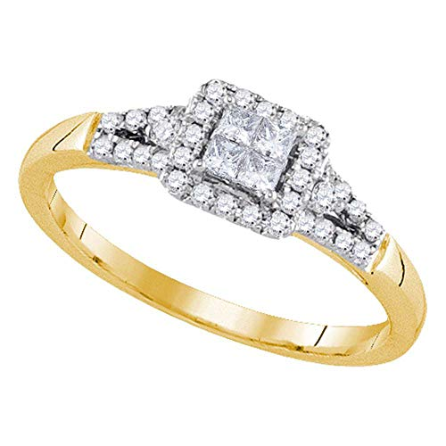FB Jewels 14kt Yellow Gold Womens Princess Diamond Square Frame Cluster Ring 1/3 Cttw (I1-I2 clarity; H-I color)