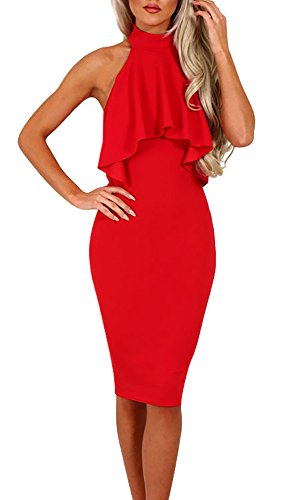 GAMISOTE Womens Ruched Shoulder Bodycon