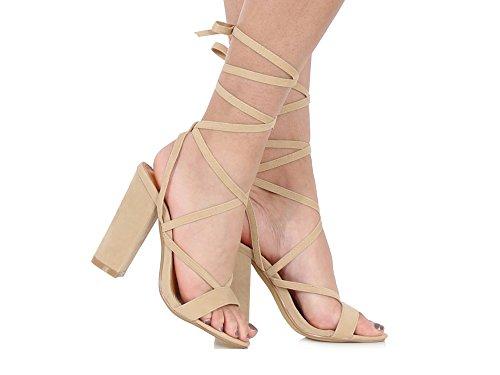 tobillo tiras Bloque de zapatos talón up del Suede Beige Faux Suede para damas Chockers Lace Tie Wrap Sandalias Faux mujer YZwaqwP