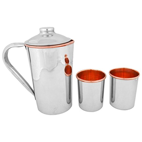 Tiger54 LLC Set of Copper Pitcher with Steel Exterior and 2 Copper Tumblers (10oz)