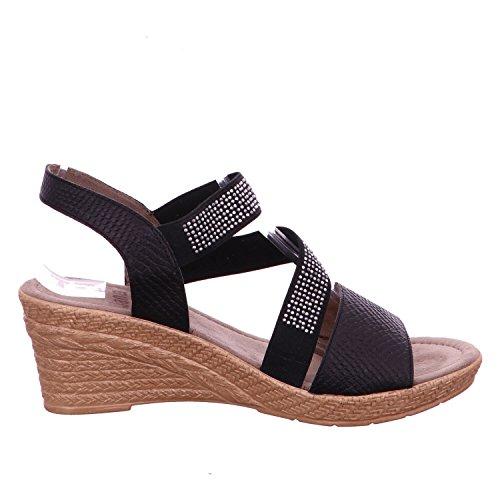 chaussures forme avec sandalesSandales Noir Noir plate une Jana 4zBHz