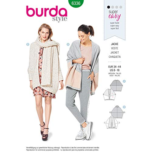 Burda Style Sewing Pattern 6336 - Misses' Over-Sized Jacket, A(8-10-12-14-16-18)