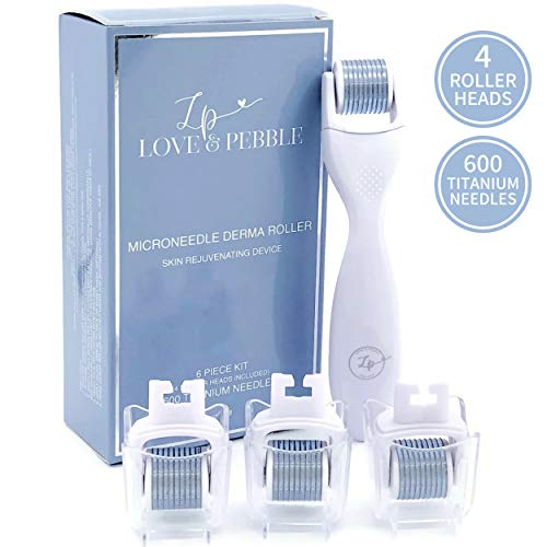 Derma Roller Microneedle Kit for Face and Body with FOUR Professional Grade 0.25 mm Titanium Replacement Dermaroller Heads, 3 Disinfecting Cups, and Storage Case