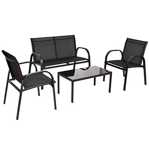 Cypress Shop Patio Furniture Set Steel Frame Tea Coffee Table Chair Loveseat Single Sofas Garden Set Bistro Backyard Lawn Deck Black Home Furniture Set of 4