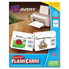 Custom Print Pre-Punched Flash Cards, Laser, 4 1/4